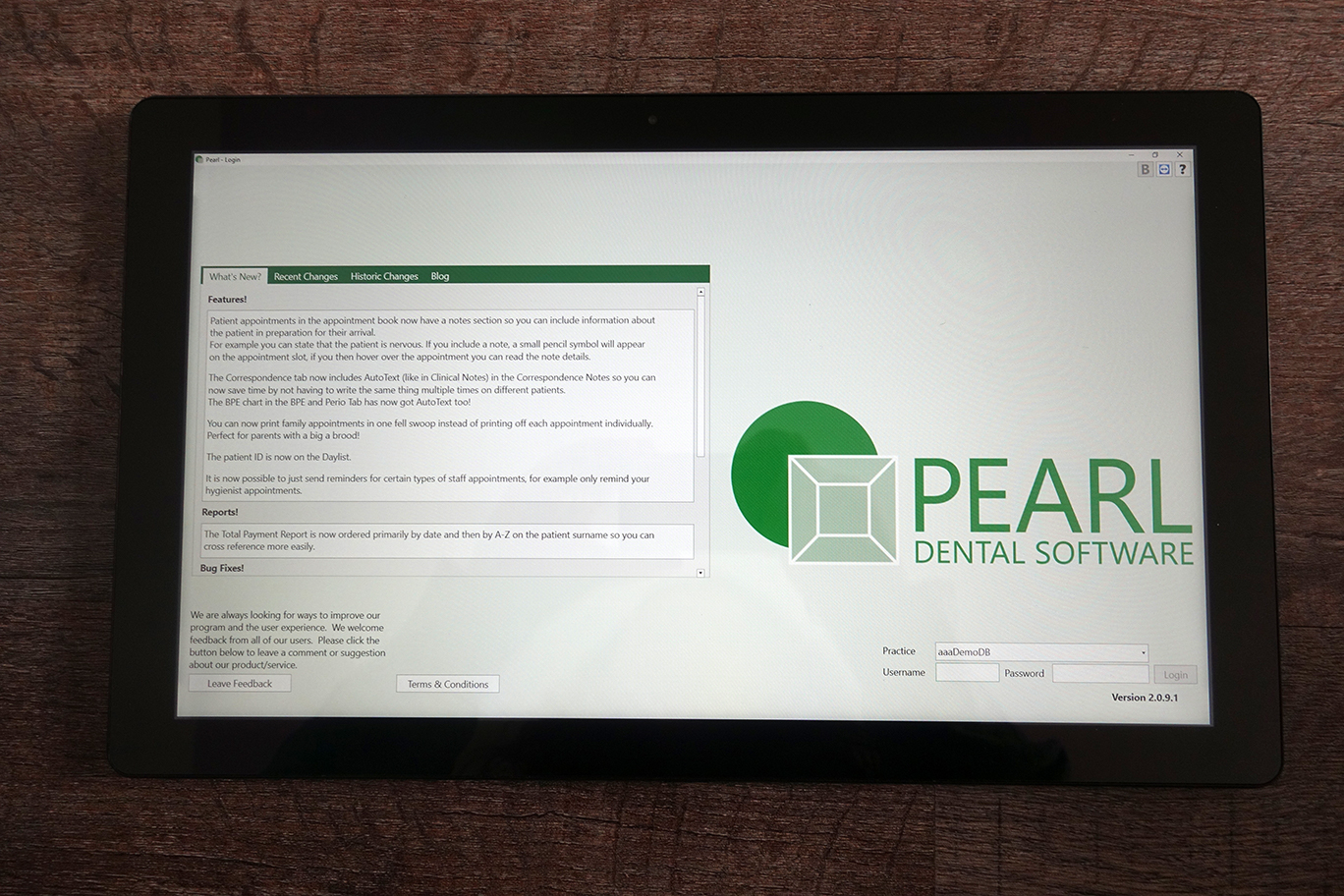 Pearl Dental tablet mode on Windows tablet