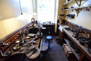 History of dentistry. The Dental Technician's laboratory, Ravensworth Terrace, Beamish Museum of the North (photo courtesy of Beamish Museum)