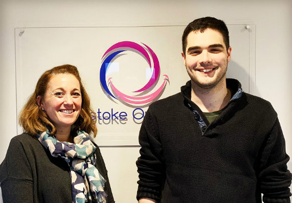 Photo - Beth, owner of Basingstoke Orthodontics and Ben at Pearl Upgrade day!