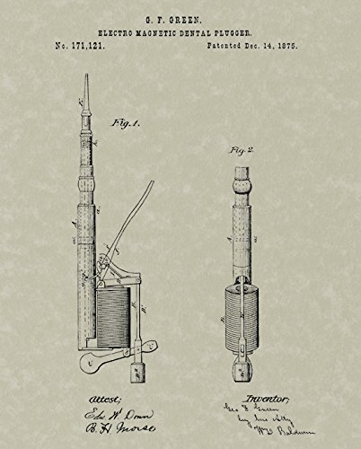Drawing - The Patent diagram for G.F.Green's first electric dental drill, filed in December 1875.