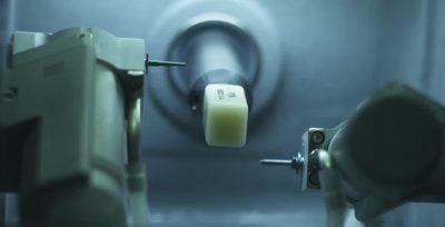 Photo - Ceramic block set in a CEREC milling machine