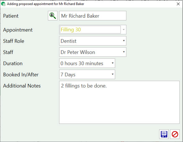 Screen Shot - Adding proposed appointment